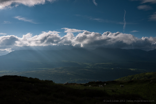Crepuscular Rays over Coniston Water in The Lake District