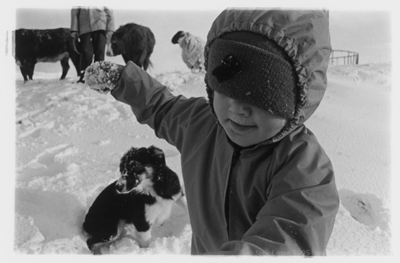 Nina and collie dog, Ardnamurchan, 1995