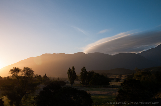 Sunset over the Kaikoura Range photographed on the South Island of New Zealand by Jack Lowe