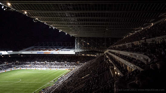A full house at St. James' Park watches Newcastle United lose 1-2 to Everton on 2nd January 2013