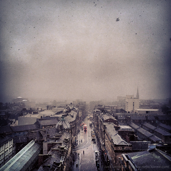 Photographed from the top of Earl Grey's Monument, the snow descends on Newcastle after Keith Crombie's funeral procession.