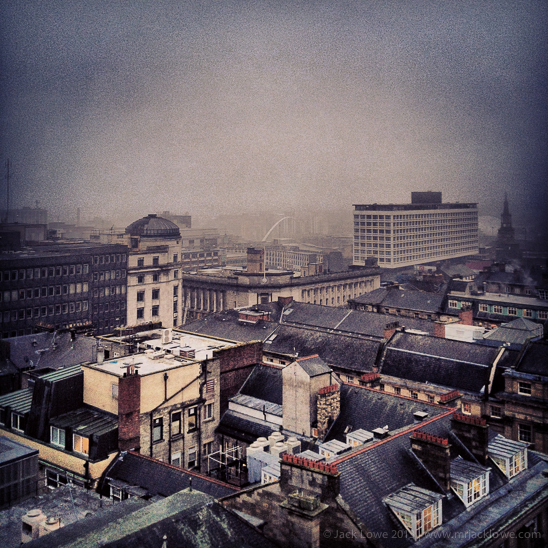 South East view towards BALTIC and the Millennium Bridge from Grey's Monument, Newcastle upon Tyne, by Jack Lowe