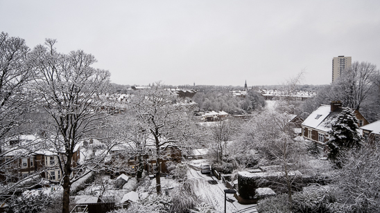 Wintery view of the snow in Newcastle upon Tyne from Heaton overlooking Jesmond Vale