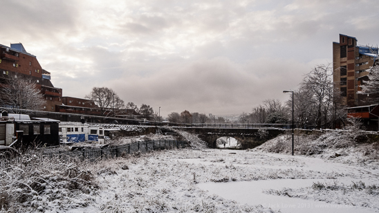 Wintery view of the snow in Newcastle upon Tyne looking down the Byker Link