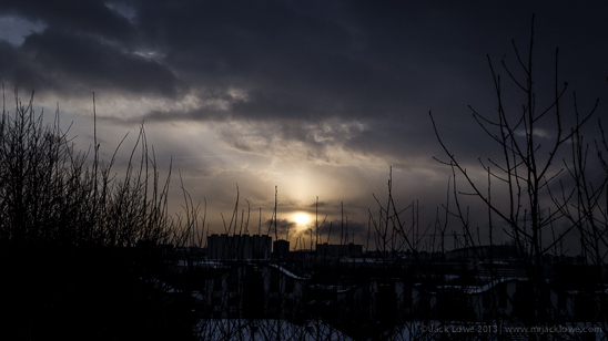 Wintery sunset from Newcastle upon Tyne to Gateshead as seen from Jack Lowe Studio