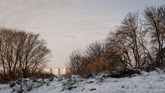 Wintery scene from Newcastle upon Tyne to Gateshead as seen from the Byker Link