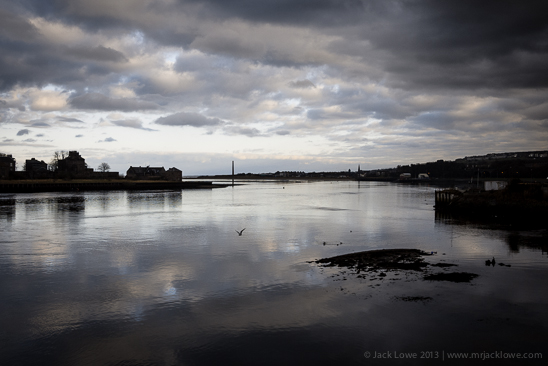 The mouth of the River Tweed — Berwick on the left to the North East and Tweedmouth on the right to the South West...
