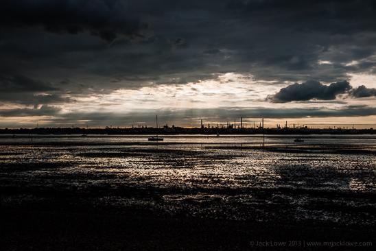 Southampton Water, Fawley Oil Refinery, sunset