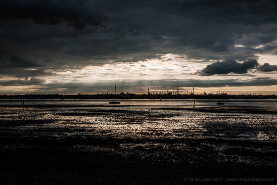 Southampton Water, Fawley Oil Refinery, sunset